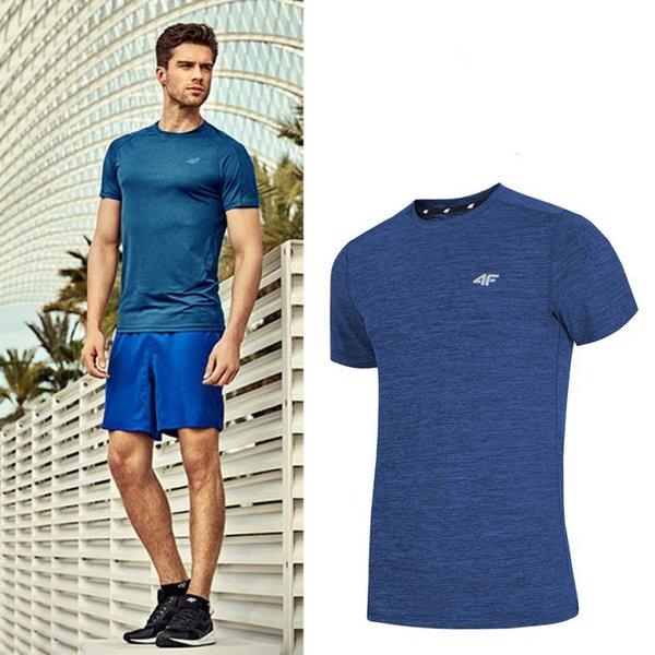 4F - Herren Sport T-Shirt - blau melange