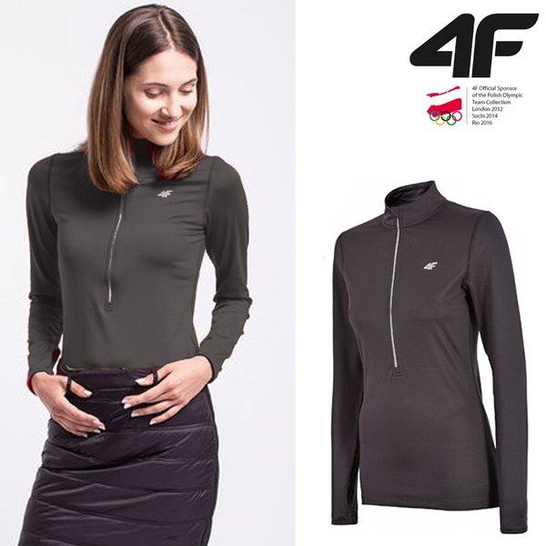 4F - Warm-Technologie- Damen Langarmshirt - schwarz XS