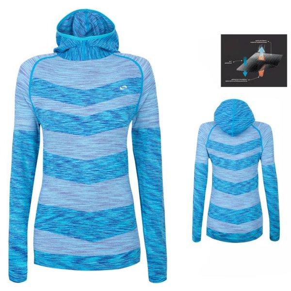 Everhill - quick dry hoodie - Damen Sport Hoodie - Fitness Longshirt - blau melange - S/M