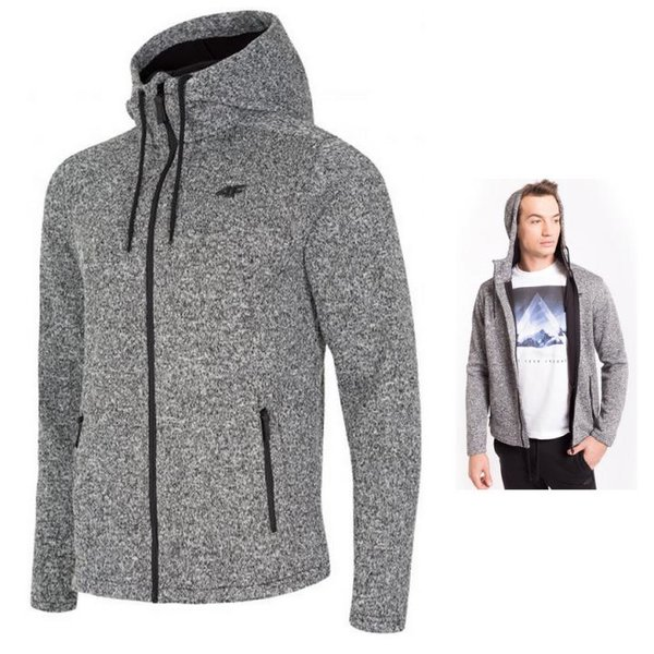 4F - dicker Herren Hoodie Fleece Zipper - Winterjacke - grau melange