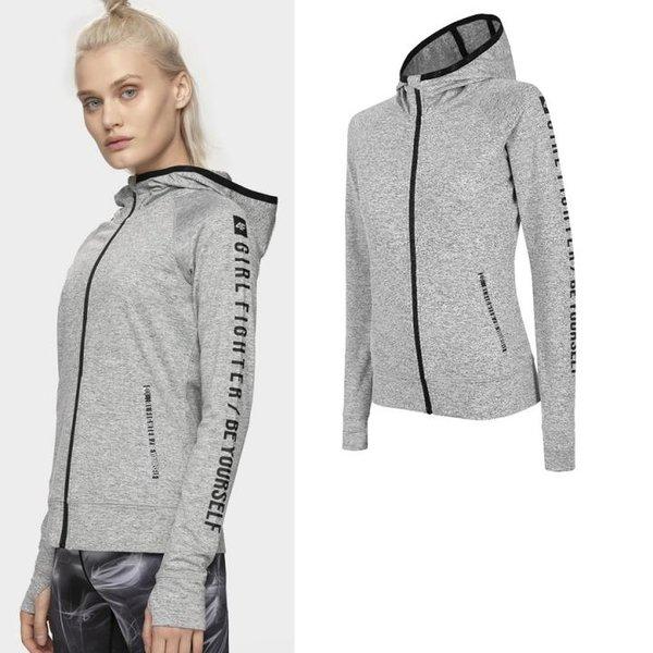 4F - Damen Fitnessjacke Sport Zip-Hoodie 2019 - grau
