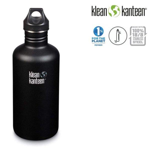 Klean Kanteen - Sport Classic Trinkflasche Brushed Stainless mit Loop Cap, schwarz 1182ml