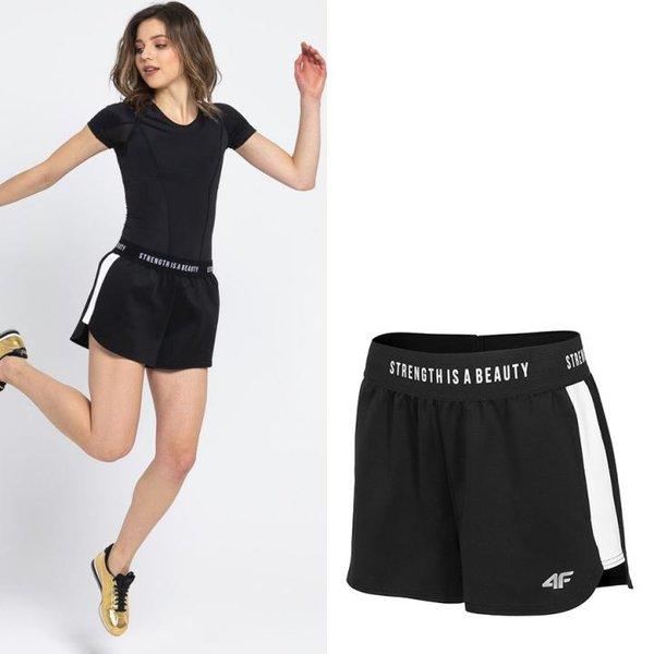 4F - STRENGTH IS A BEAUTY - Damen Sportshort - schwarz
