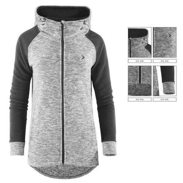 WAMY DUO LONG - Damen Fleecejacke stylischer langer Hoodie von Outhorn - grau