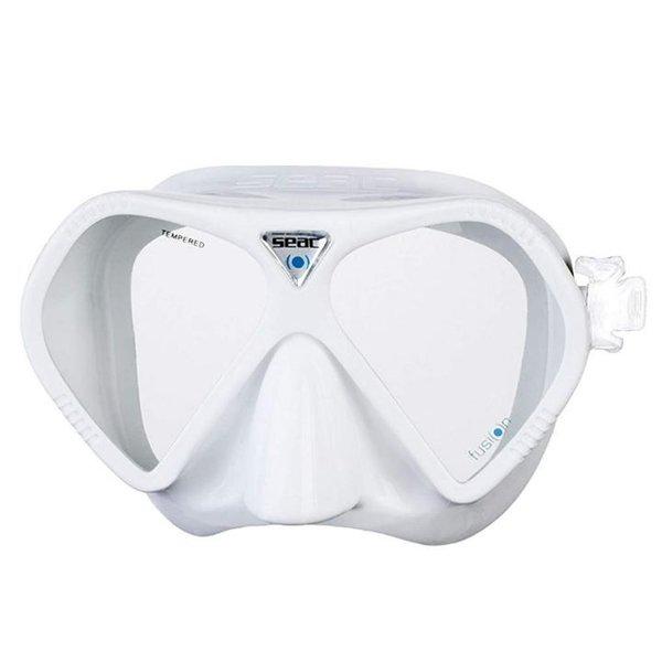 SEAC- Taucher Maske Schwimmbrille Ultra-Fast System und UV Schutz - Anti-Fog und BOX - weiß