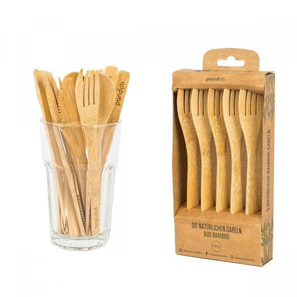 PANDOO - Wiederverwendbare Gabeln aus 100% natürlichem Bambus - 5er Set