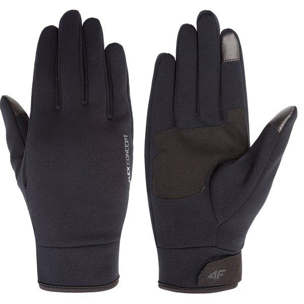 4F - dickere Softshell Handschuhe - mit Antirutschoberfläche für Handybedienung - schwarz