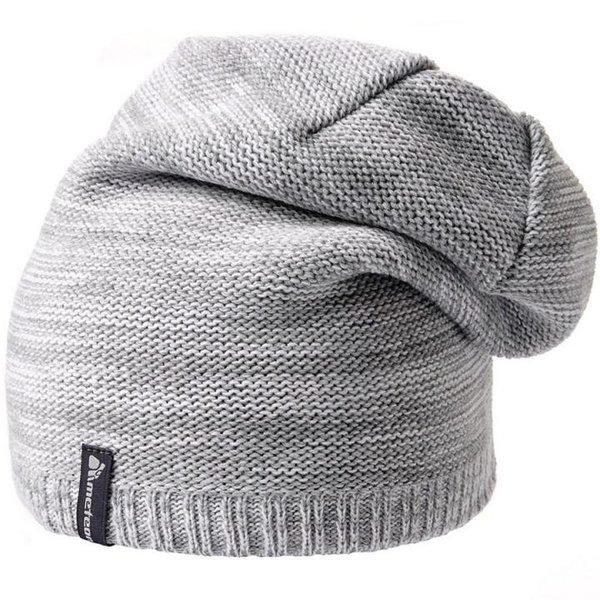 MAKALU - doppellagige Strickmütze Wintermütze - weiß grau
