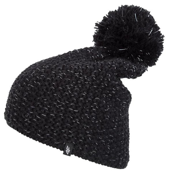 4F - Damen Bommelmütze reflektierend - schwarz