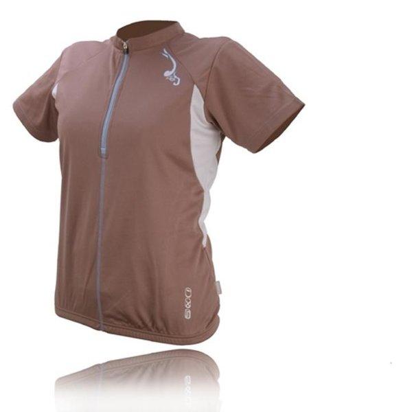 IXS - Damen Sport- Fahrrad Poloshirt - 4way Sportshirt Aurora - braun