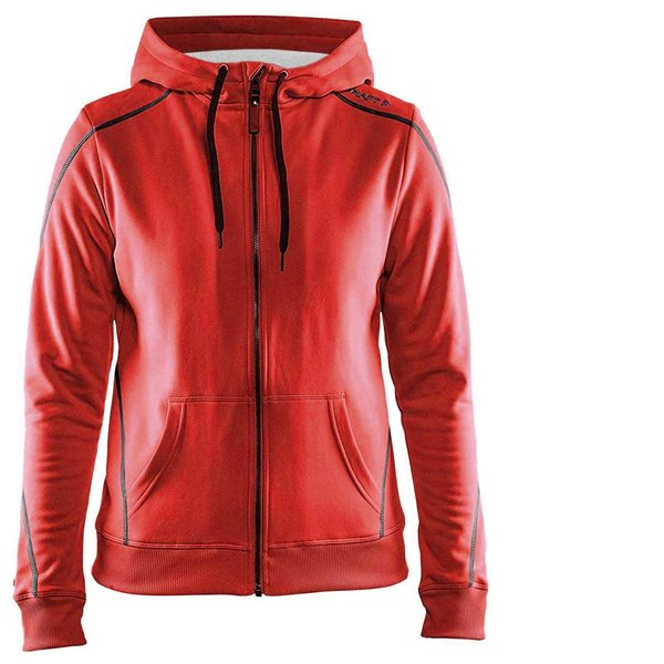 Craft Damen In-The-Zone Full Zip Hood W Hoodie - dicker Sportpullover - rot