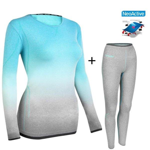 FLORA - Damen Thermo Funktionsunterwäsche Skiunterwäsche Set - blau grau