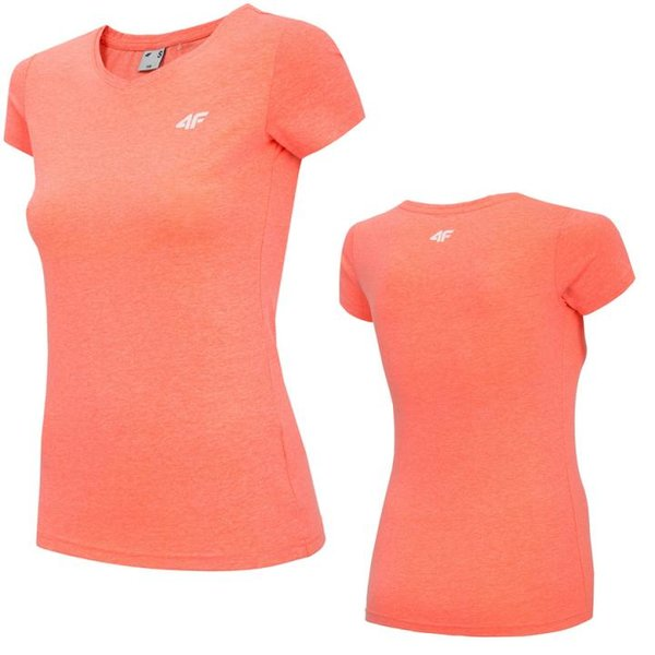 4F- Damen Basic T-Shirt 2019 - coral melange