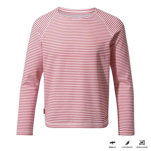 Craghoppers - NosiLife Paola - Kinder Shirt - weiß rot gestreift