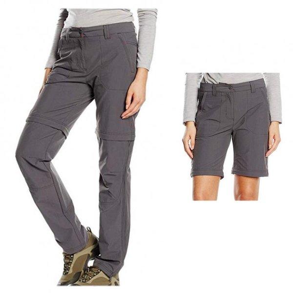 SALEWA Damen FANES VALPAR DRY 2/1 REG Hose T-Zip Off Shorts, grau, 40/L