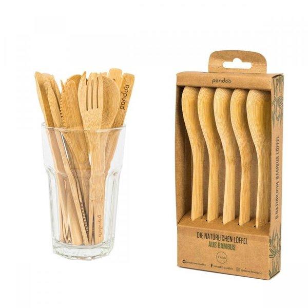 PANDOO - Wiederverwendbare Löffel aus 100% natürlichem Bambus - 5er Set