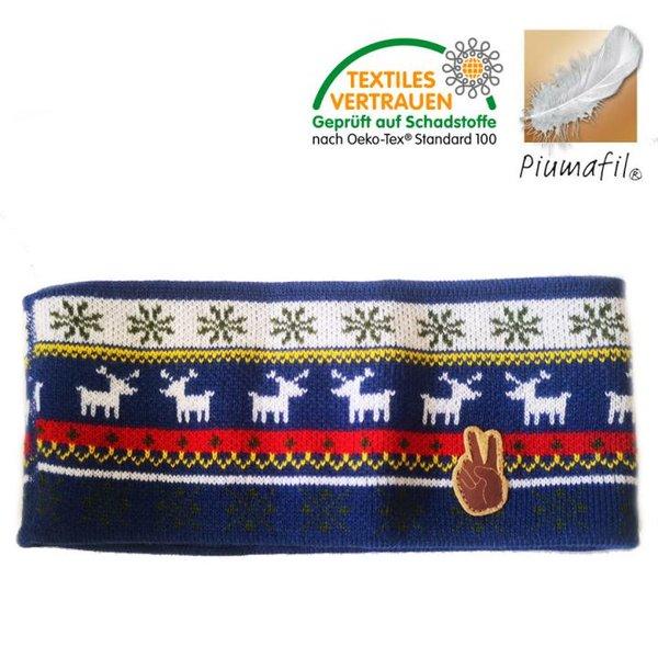 Piumafil - Strick-Fleece Stirnband Seger, weiß blau