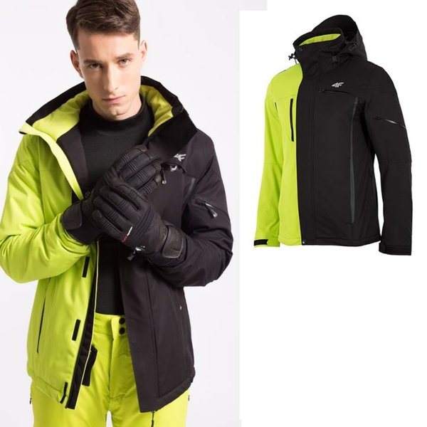Canary Skijacke - 4F Herren Winterjacke - 10.000 Membran - schwarz gelb