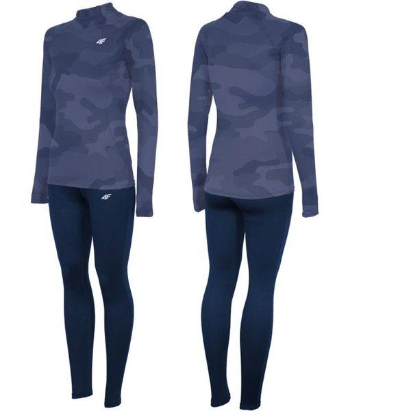 4F - Marken Damen Funktionsunterwäsche - Longshirt und Hose - Dry 2018 - navy