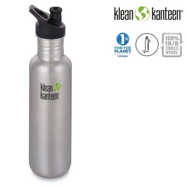 Klean Kanteen - Sport Classic Trinkflasche Brushed Stainless mit Sport Cap, silber 800ml