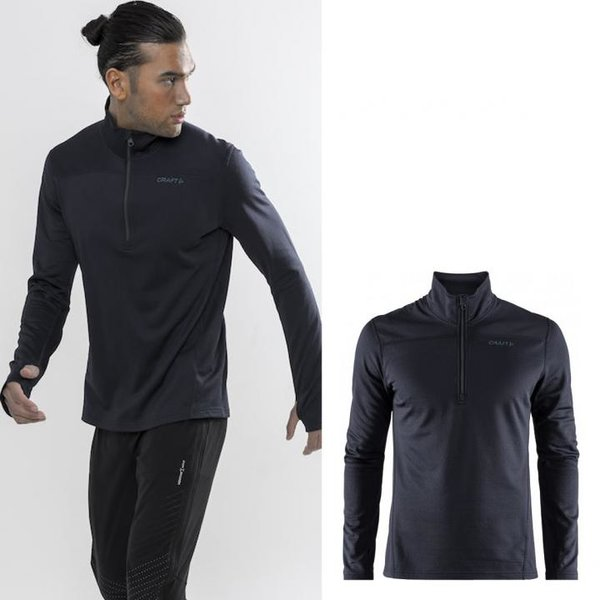 Craft - Pin Halfzip - Herren Langarmshirt - schwarz