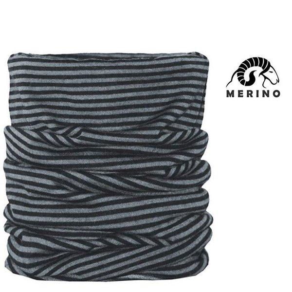 ARECO - MERINO Multifunktions-Halstuch Mütze Schal Neckwarmer - schwarz grau