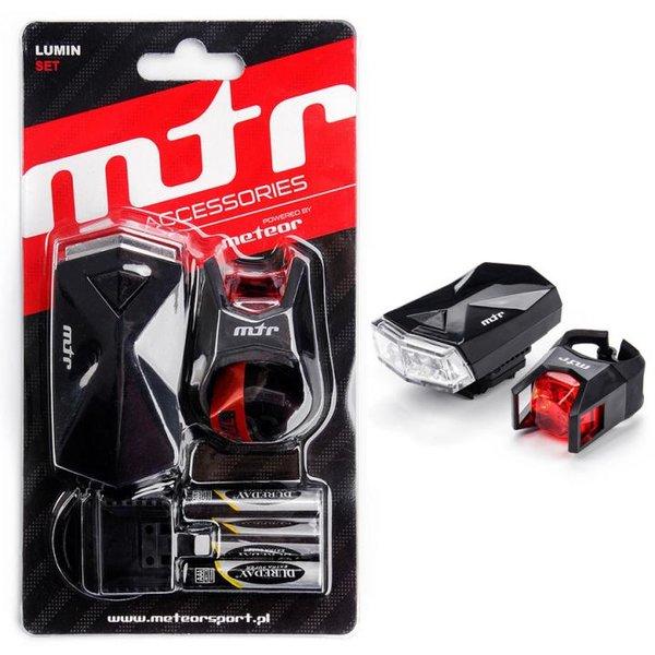 MTR - LUMIN SET LIGHT - Fahrradlicht Set Licht mit Halterung für vorne und hinten inkl. Batterien