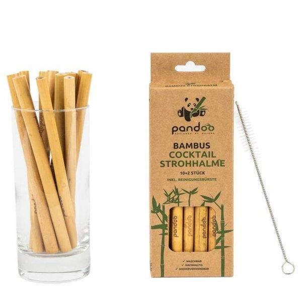 pandoo 12er-Pack Cocktail-Strohhalme aus 100% Bambus inklusive Reinigungsbürste