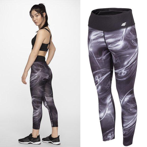 4F - Damen 7/8 Sport Leggings - schwarz grau
