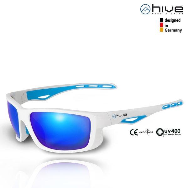 hive - Sportbrille Sonnenbrille - verspiegelt - UV400 - Kat. 3 - White Version