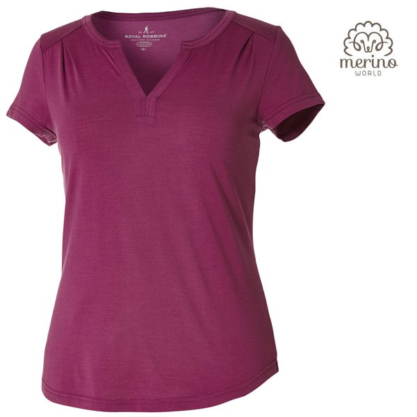 Royal Robins - Merinolux Henley S/S - Damen Merino Top Shirt, aster