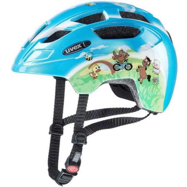 UVEX Fahrradhelm FINALE Kinderhelm mit LED, blau farmer, 47-52 cm