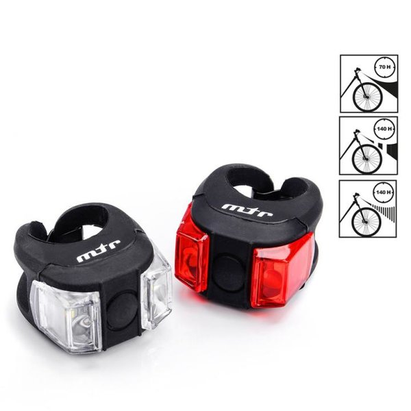MTR - Flex SET - Fahrradlicht Set Licht für vorne und hinten inkl. Batterien - schwarz