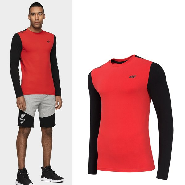 4F - Herren Sport Langarmshirt - rot schwarz