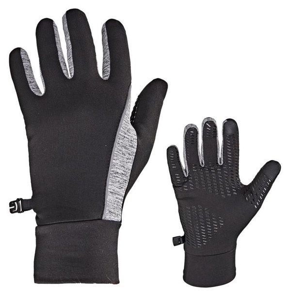 ARECO - Laufhandschuhe Sport Handschuhe mit e-touch und Gripp Innenfläche - schwarz