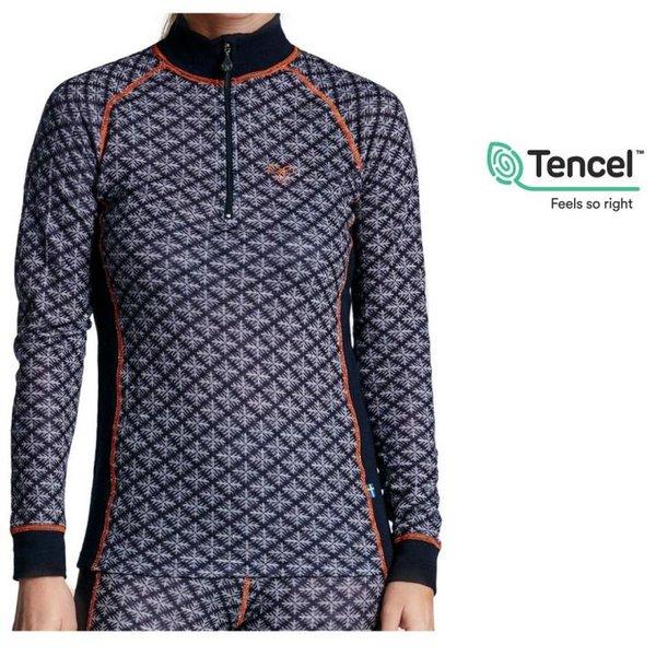 Tencel - Seaqual Jaquard Original 2.0 - Longshirt dickeres Damen Longsleeve mit Zip - blau