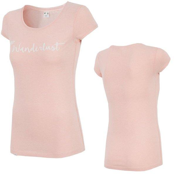 Wanderlust - Damen 4F T-Shirt Baumwollshirt - rosa