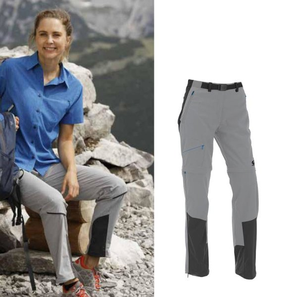 Maul - Oakville II - Damen Zip-Off Wanderhose 2019 Shorts mit Gürtel - schwarz grau
