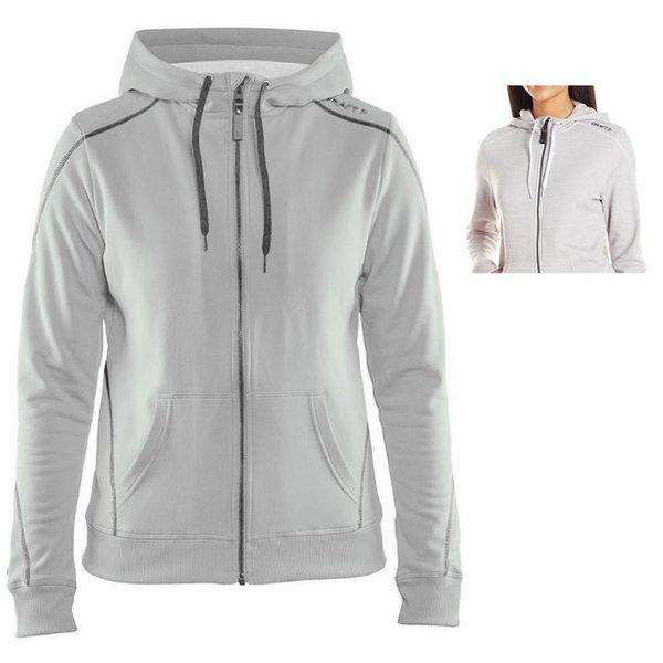 Craft Damen In-The-Zone Full Zip Hood W Hoodie - dicker Sportpullover - grau