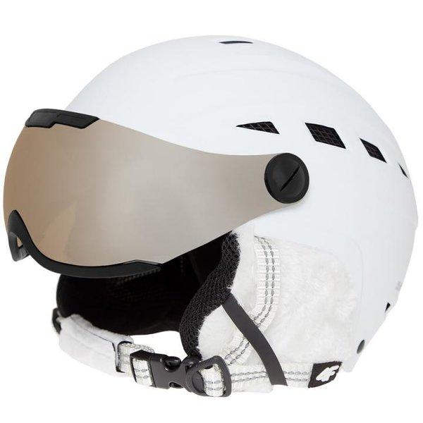 4F - Damen Ski/Snowboardhelm 2018 - Marken CE Skihelm mit Brille - weiß