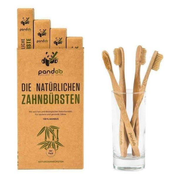 PANDOO - Zahnbürste aus 100% natürlichem Bambus - 1 Stück - weich/mittel