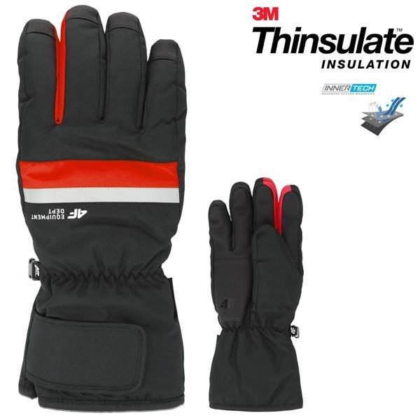 Thinsulate - 4F Marken Skihandschuhe Winterhandschuhe - schwarz rot