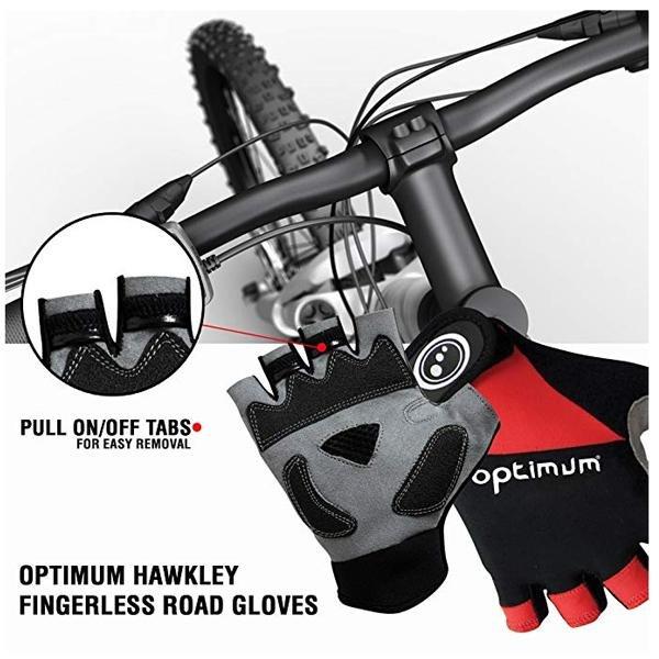 Optimum Hawkley Fahrradhandschuhe fingerlos, schwarz rot, L
