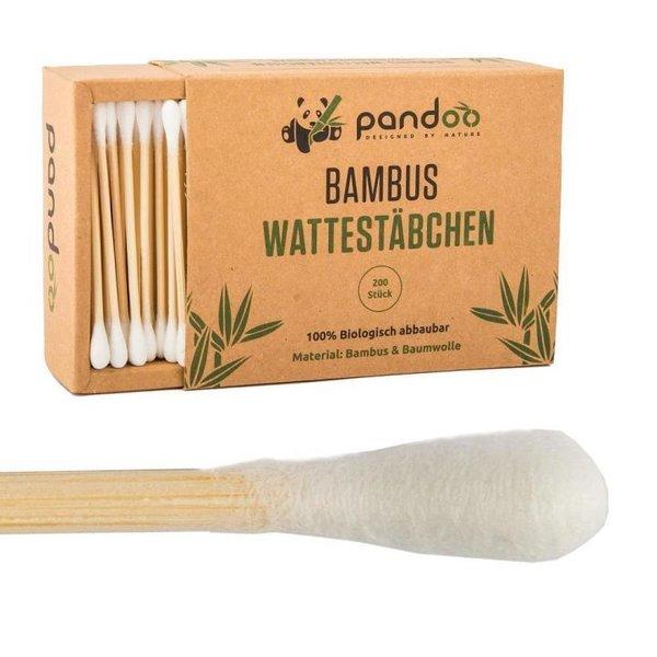 PANDOO - Wattestäbchen aus 100% natürlichem Bambus - 200 Stk.