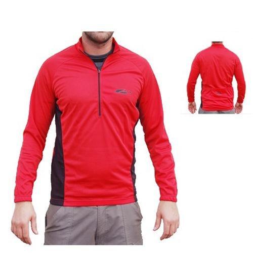 Asender Herren Sport Longshirt Zip Überzieher - rot - S
