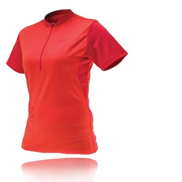 IXS - Damen Sport- Fahrradshirt - 4way Stretch Sportshirt Belize - rot
