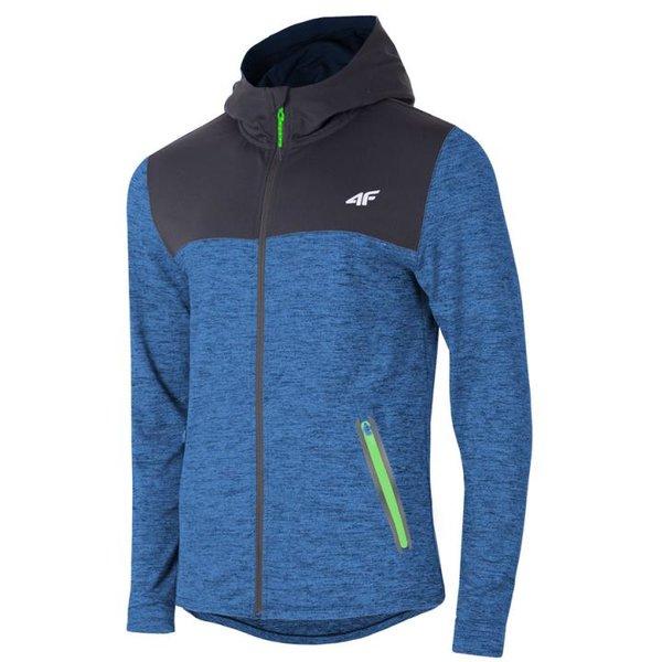 4F - Herren Sportjacke Fitness Hoodie 2019 - schwarz blau melange