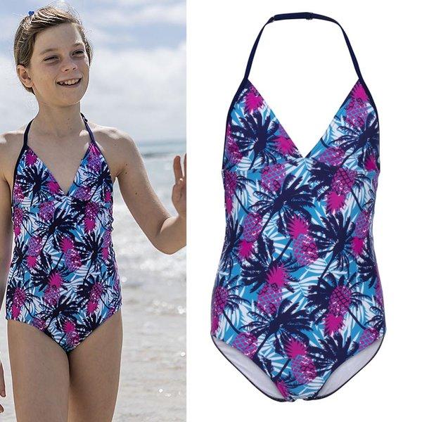 Fashy - Kinder und Jugendliche Badeanzug - blau pink Palmenprint