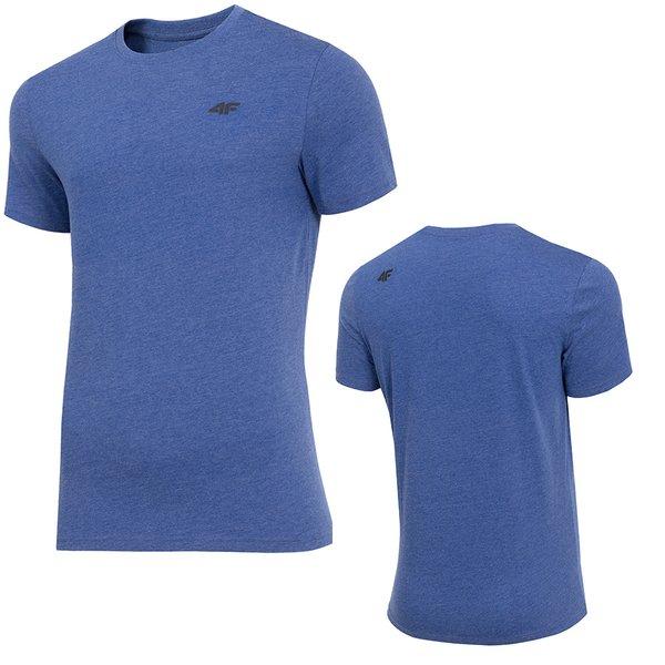 4F - Herren Sport T-Shirt Baumwolle - blau melange