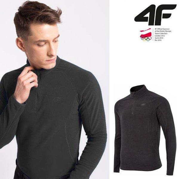 4F - Herren Fleece Langarmshirt - schwarz S